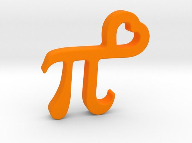 PI in Heart - Pendant - Mathematical shapes 3d printed
