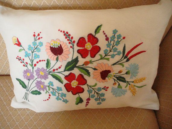Hand embroidered pillowcase by embroiderytrend on Etsy