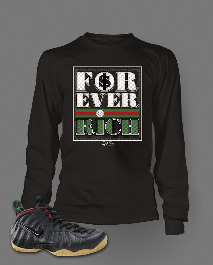 Long Sleeve T Shirt To Match Gucci Black Foamposite Shoes