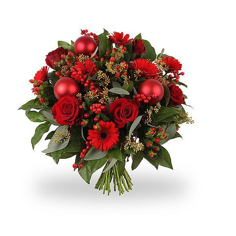 Kerstboeket Vrolijk Rood van Boeketten.nl
