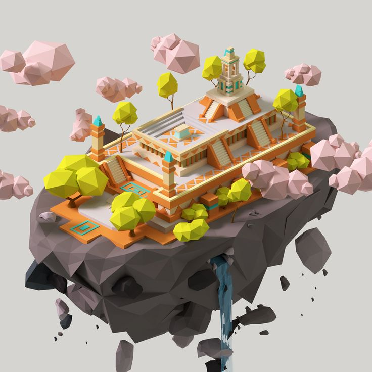 Isometric Temple Постигаю Low PolyI am inspired concepts of this cool guy ! Please, check his work's!) https://www.artstation.com/artwork/EzkEv