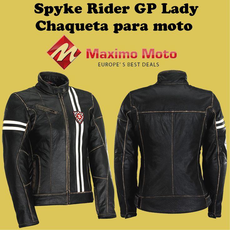La mejor chaqueta de la señora del ajuste con los protectores desprendibles del hombro y del codo. Cintura ajustable con velcro. #chaquetas #moto #cuero #mujeres