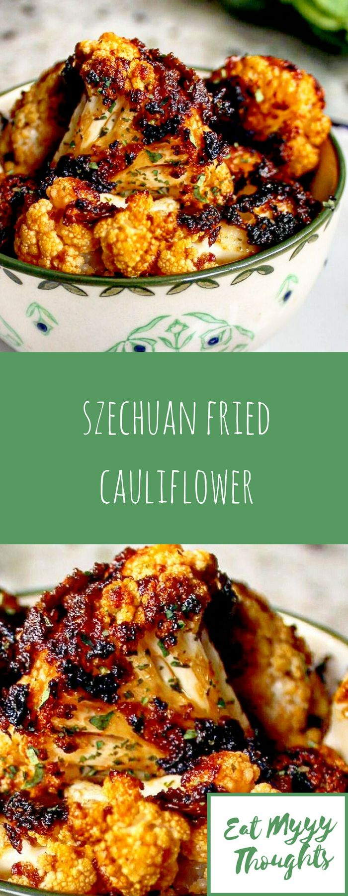 Cauliflower florets shallow fried in Szechuan spice paste - great as a snack or as a starter, especially alongside roasted cauliflower leaves.