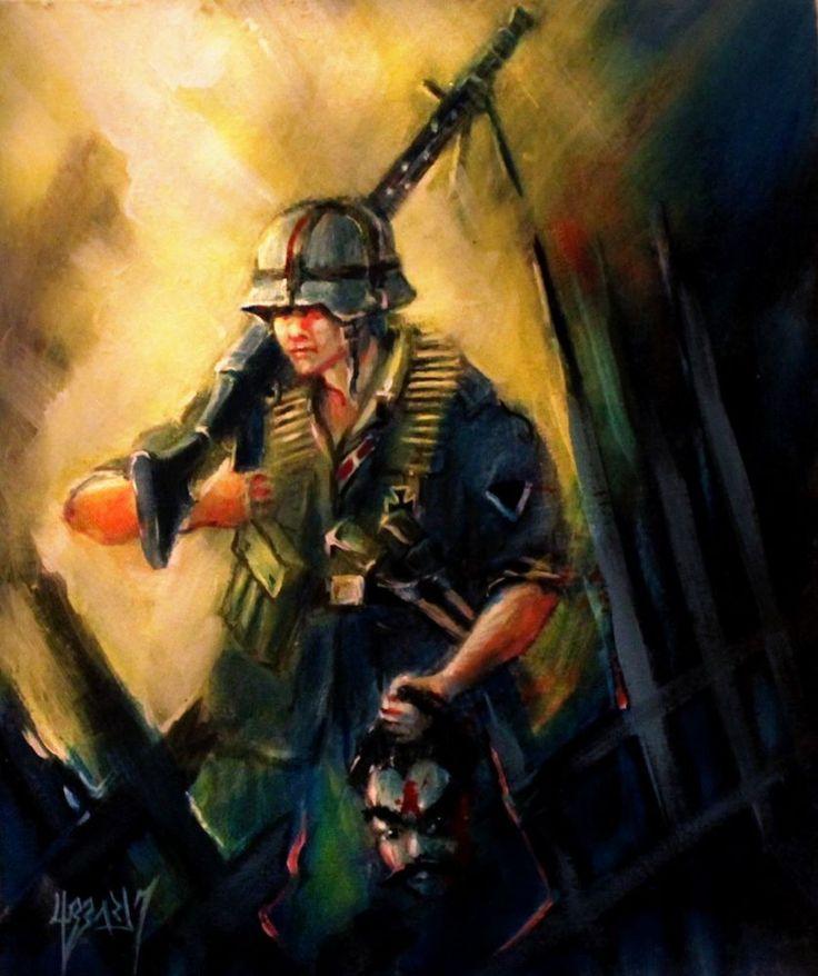 WW2 ART EASTERN FRONT WEHRMACHT HEER UNCLE JOE OIL PAINTING BLACKSUN13R