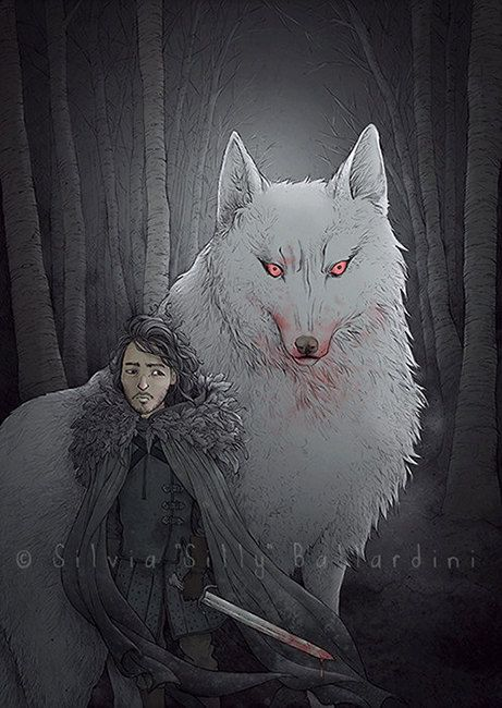 Game of Thrones art print: Jon Snow & Ghost.   Game of Thrones poster, illustration, gift, card, a song of Ice and Fire, ASoIaF.
