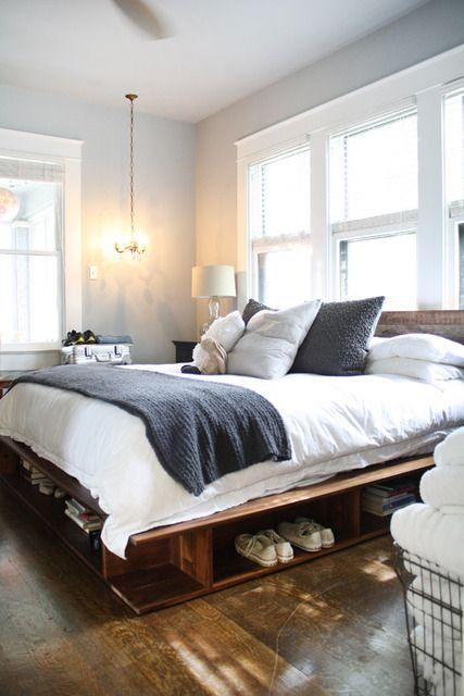 platform bed. love the bedding