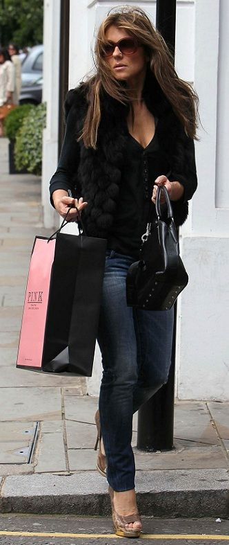 Liz Hurley--faux fur vest.