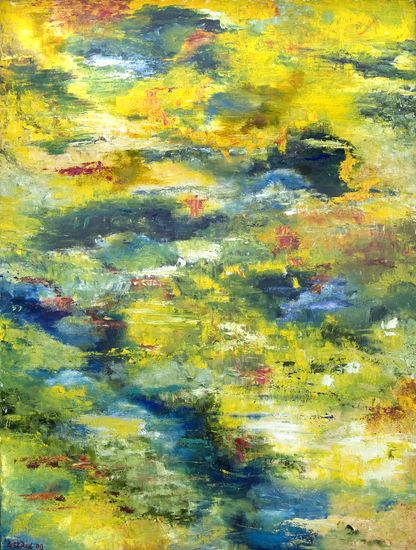 Waterspiegeling herfst. Water reflexion -  autumn. Oilpainting on linnen. Size: 120 x 90 cm. FOR SALE: € 450,00 Part of a series: Water reflexions.