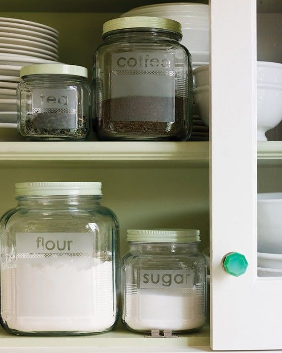 Keep pantry staples organized with a set of glass storage jars customized with etched lettering.