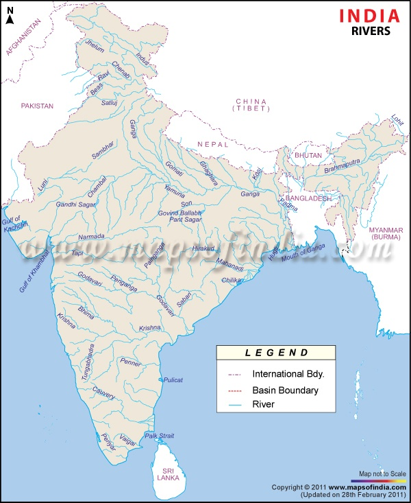 River Map of India showing the courses of rivers.