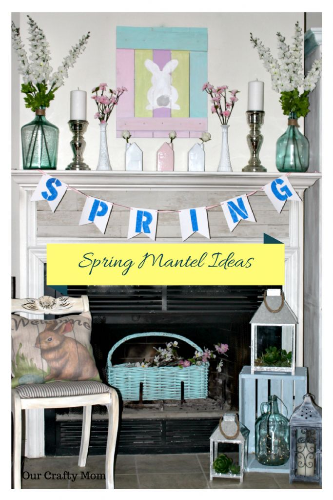 Easy Ideas For A Bright And Fun Spring Mantel - Our Crafty Mom #springmantel #mantels #homedecorating