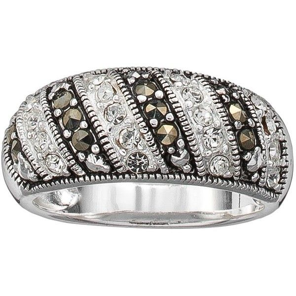 Silver Plated Cubic Zirconia and Marcasite Stripe Ring ($16) ❤ liked on Polyvore featuring jewelry, rings, multicolor, cz rings, silver plated rings, silver plated cubic zirconia ring, pave jewelry and cubic zirconia rings