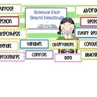 Created in the landscape format, this package includes 12 sets of board headings for a science fair board.  Each set is 7 pages long, with 2 titles...