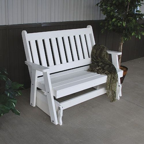 A & L Furniture Recycled Plastic 4 ft. Traditional English Glider Bench - Outdoor Gliders at Hayneedle