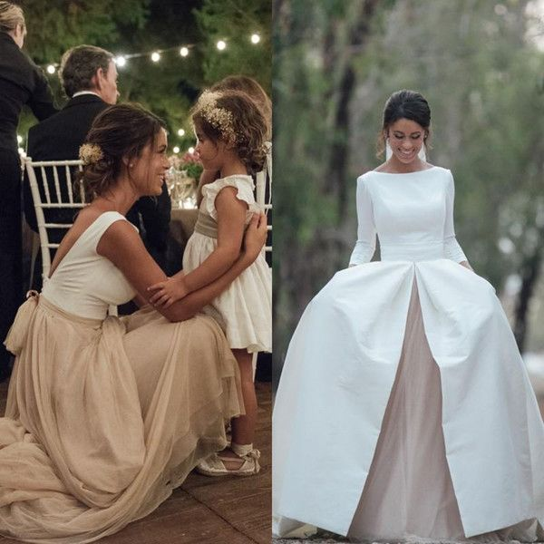 Low cost 2017 Nation Wedding ceremony Attire With Removable Skrit Bateau Neck A Line Lengthy Sleeves White Satin Champagne Chiffon Classic Wedding ceremony Robes Line Bridal Gown Princess Wedding ceremony Attire From Sunnybridal01, $185.78| DHgate.Com