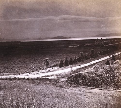22. Evening View of the Golden Gate, from the Pacific Female College, Oakland, Alameda County 1860s