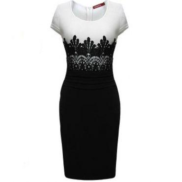 USD10.49Sexy O neck Cap Sleeve Short Sleeve Sheath Black Polyester Knee Length Pencil Dress
