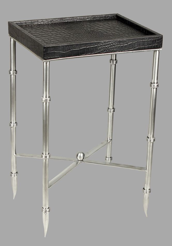 Best Leather Side Table Black Croc Stainless Steel Bamboo Legs 640 x 480