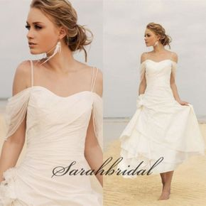 2014 White Beach Wedding Dress Cheap Simple Off Shoulder Long Bridal Gowns Hot | eBay