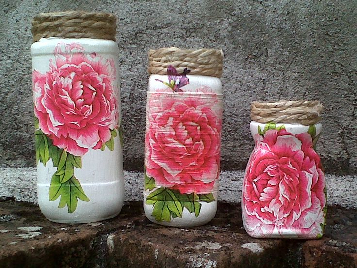 20 best images about frascos y botellas de vidrio on for Envases de vidrio decorados