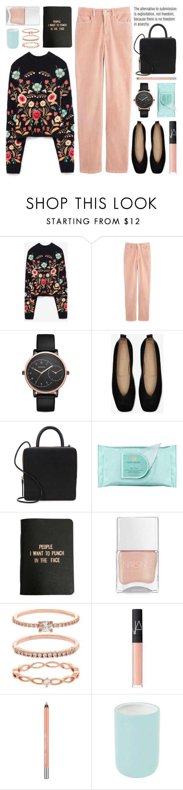 """""""embroidered sweater"""" by jesuisunlapin on Polyvore featuring Belgique, Skagen, Building Block, Estée Lauder, A Weathered Penny, Nails Inc., Accessorize, NARS Cosmetics, Urban Decay and Aquanova"""