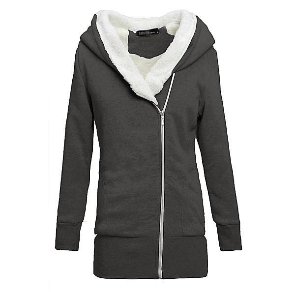 Hooded V-Neck Long Sleeve Jacket /Sweatshirt With Front Zipper Sweatshirt