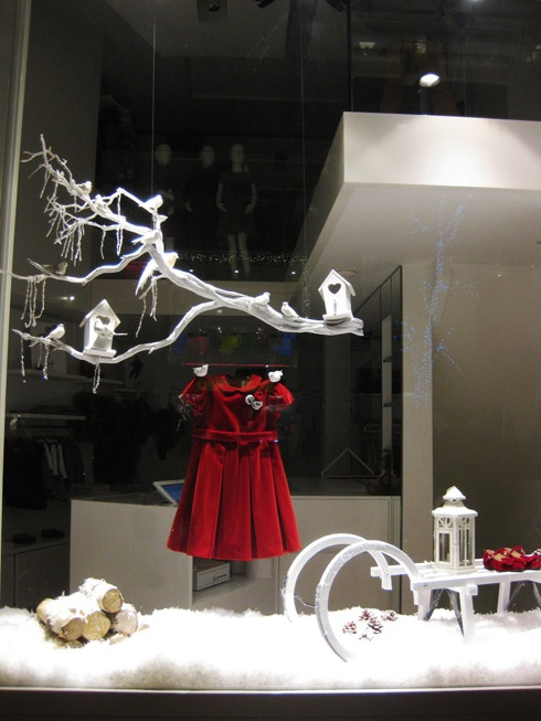 christmas window display-- love the hanging stick. could hang some ornaments on it