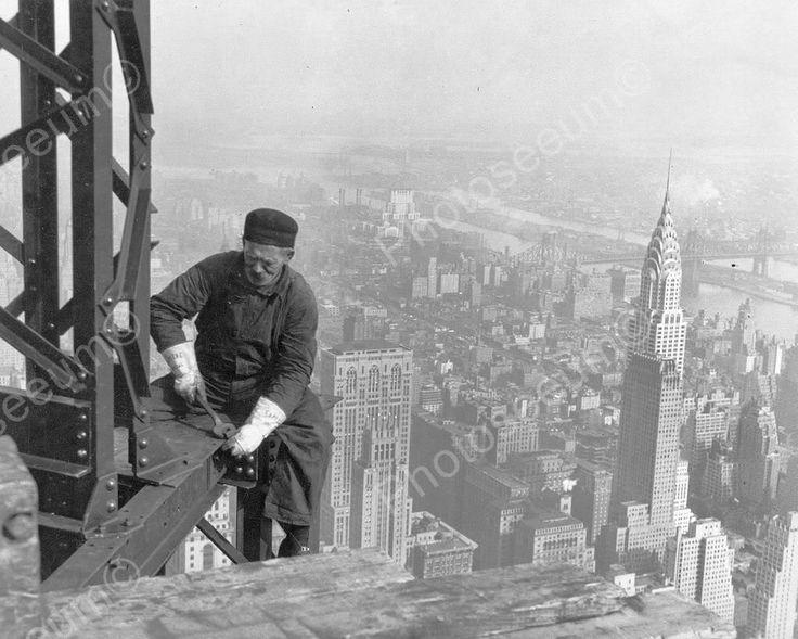Sky Scraper Worker New York City Vintage 8x10 Reprint Of Old Photo