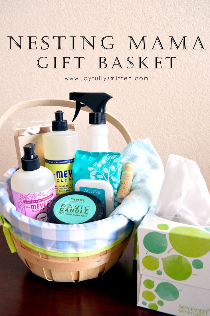 A unique gift basket idea for an expecting mom that is different than any other gift basket you've seen given full of cleaning supplies, luxuries and thoughtful items for the expecting mom!