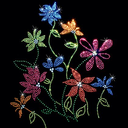 9x11  - COLORFUL FLOWERS - colorful flowers, Flowers, rhinestones, studs, Material Transfer