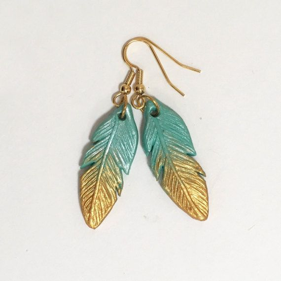 Turquoise and Gold Feather Earrings