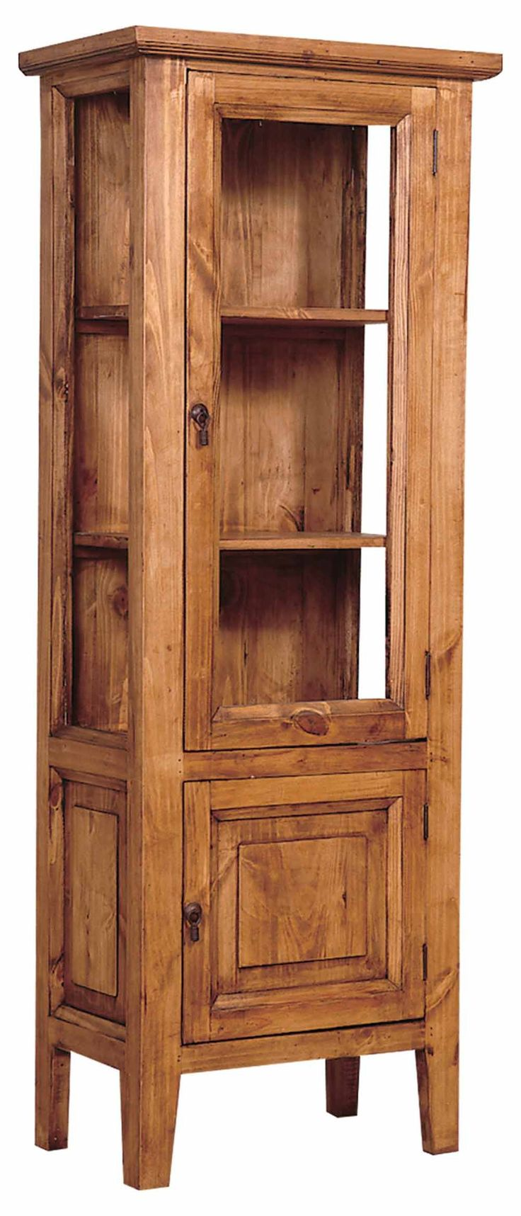 rustic glass cabinet | Rustic Pine Curio Cabinet Dining Furniture