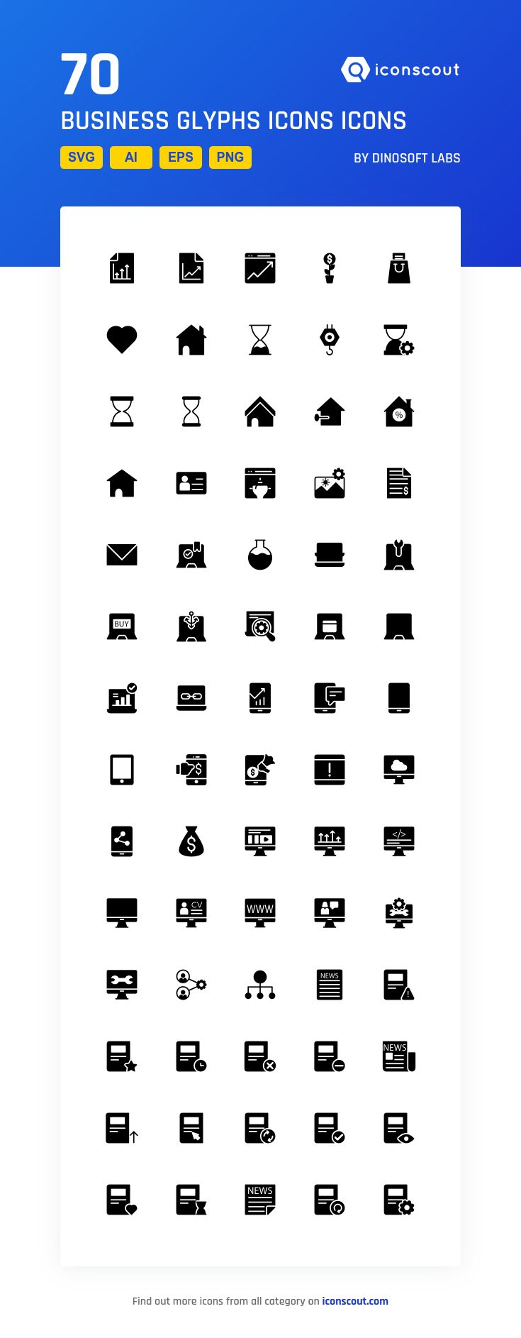 Business Glyphs Icons  Icon Pack - 70 Solid Icons