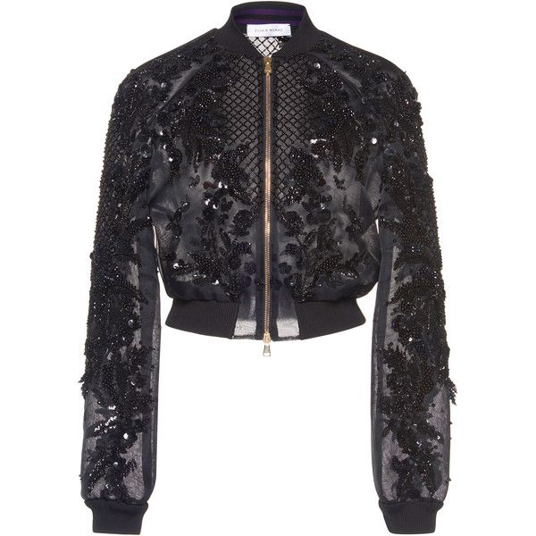 Zuhair Murad Embroidered Organza Bomber Jacket (£3,770) ❤ liked on Polyvore featuring outerwear, jackets, embroidered bomber jacket, bomber style jacket, embroidery jackets, flight jacket and organza jacket