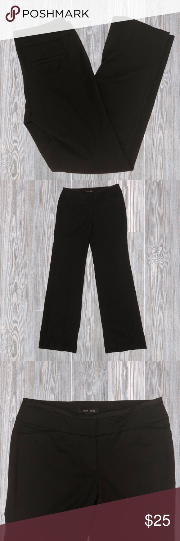 "WHBM Legacy Modern Boot Cut Career Slacks Pants are by White House Black Market and are in a size 4. They have a 2 clasp and button closure, with no pockets. Pants are in a regular length and have a boot cut. In great preloved condition and are made from Polyester, Rayon, and Spandex. Approximate measurements: (32in waist- 8in rise- 33in inseam- 41in outseam)  Not Accepting Trades  Note to ""Scammers"": I film my entire packing process so don't even try it. ❤ White House Black Market Pants…"