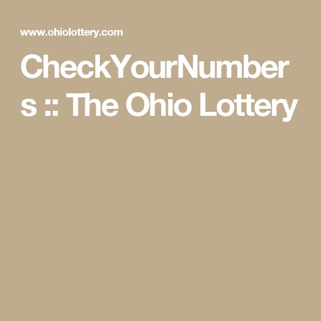CheckYourNumbers :: The Ohio Lottery