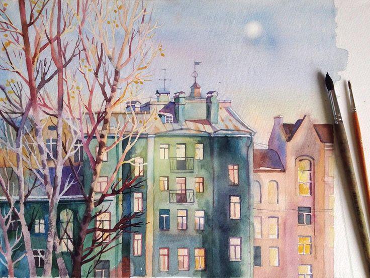 #sketch, #watercolor, #зарисовки, #акварель #иллюстрация, #painting, #illustration,  #landscape