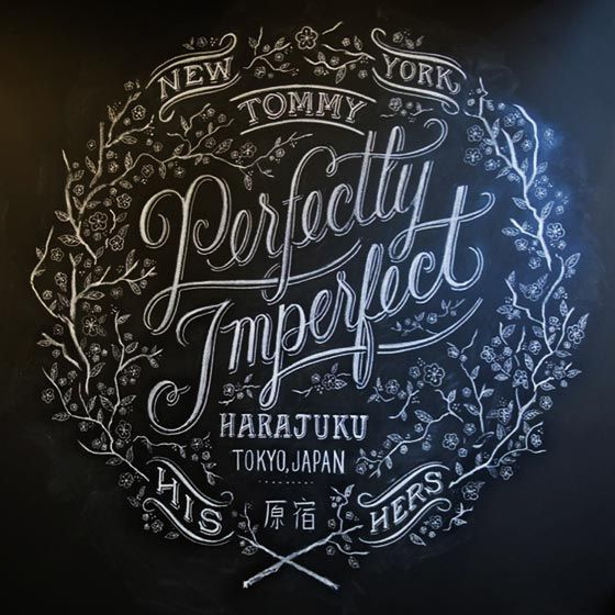 This wall sign showcases the design artistry that often accompanies chalkboard work. It's not simply a lettering style; instead, a chalkboard provides an entire working space which can be filled with drawings that emphasize the impact of the words.
