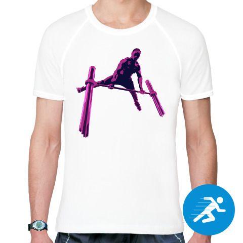 """Футболка с нарисованным изображением уличного атлета, который выполняет трюк на турнике. Занимаешься воркаутом и давно хотел тематическую футболку? Тогда яркие тематические футболки из """"Edge Collection"""" твой выбор! Никакого ч/б! Только яркие цвета!"""