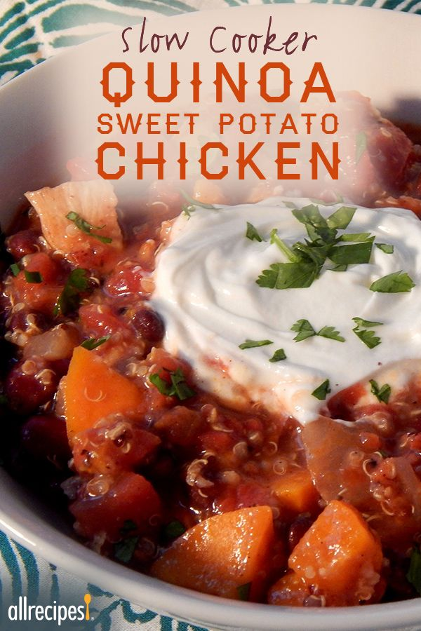 Slow Cooker Quinoa Sweet Potato Chicken | This was great. Im a grad student and this gave me dinner for about 5-6 nights. It was even great after freezing/thawing/reheating.