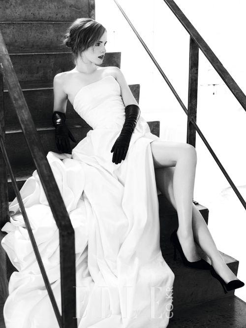 Emma Watson (I love those black gloves against that white dress)