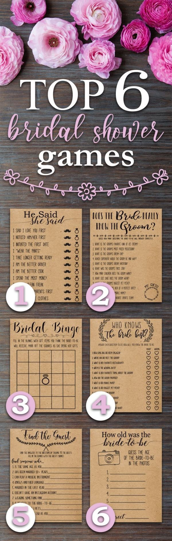 Top 6 Bridal Shower Games. Fun, Rustic, funny, bridal shower games. Perfect for a wedding shower with a country, barn, outdoors, bohemian, rustic theme. by rhea
