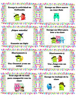 Great incentives for classroom management and works well with Class Dojo behavior system. The coupons are all in Spanish with helpful visuals to help two-way dual language classrooms. Enjoy!