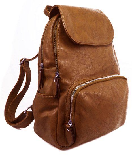 GFM Multi pocketed Small Faux Leather Fashion Backpack Rucksack (Style 2-841-chmd)