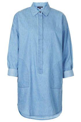 Denim Shirt Dress - Dresses - Clothing