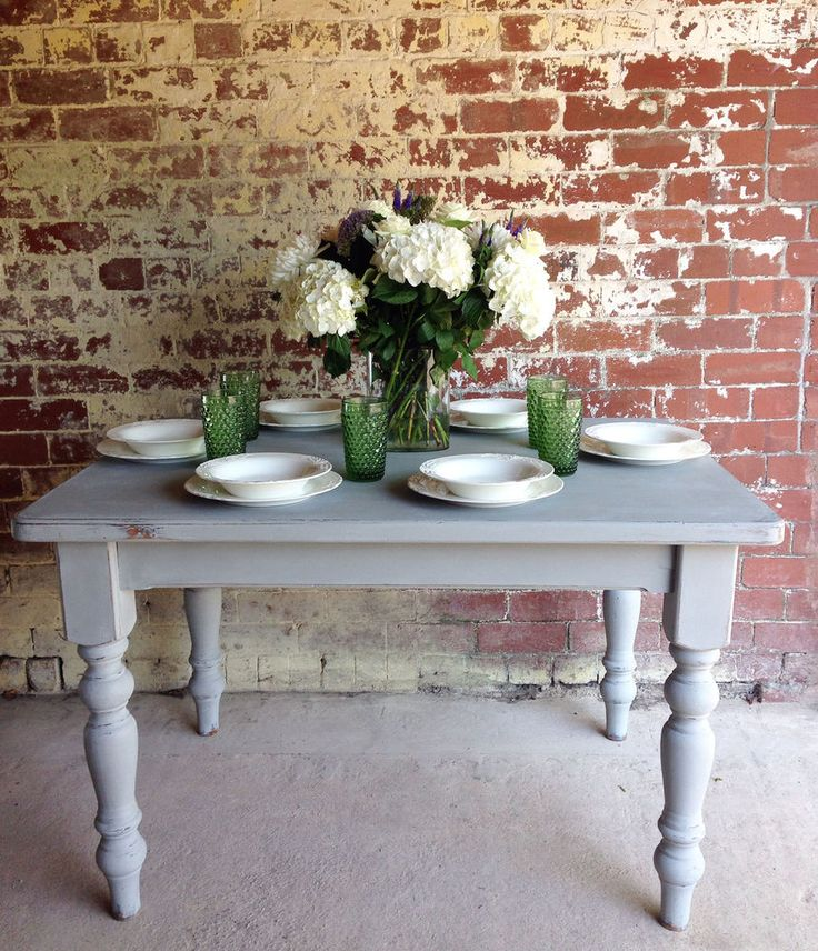 Charming Vintage Grey Painted Pine Kitchen Dining Table. Seats 6-8 in Antiques, Antique Furniture, Tables | eBay More