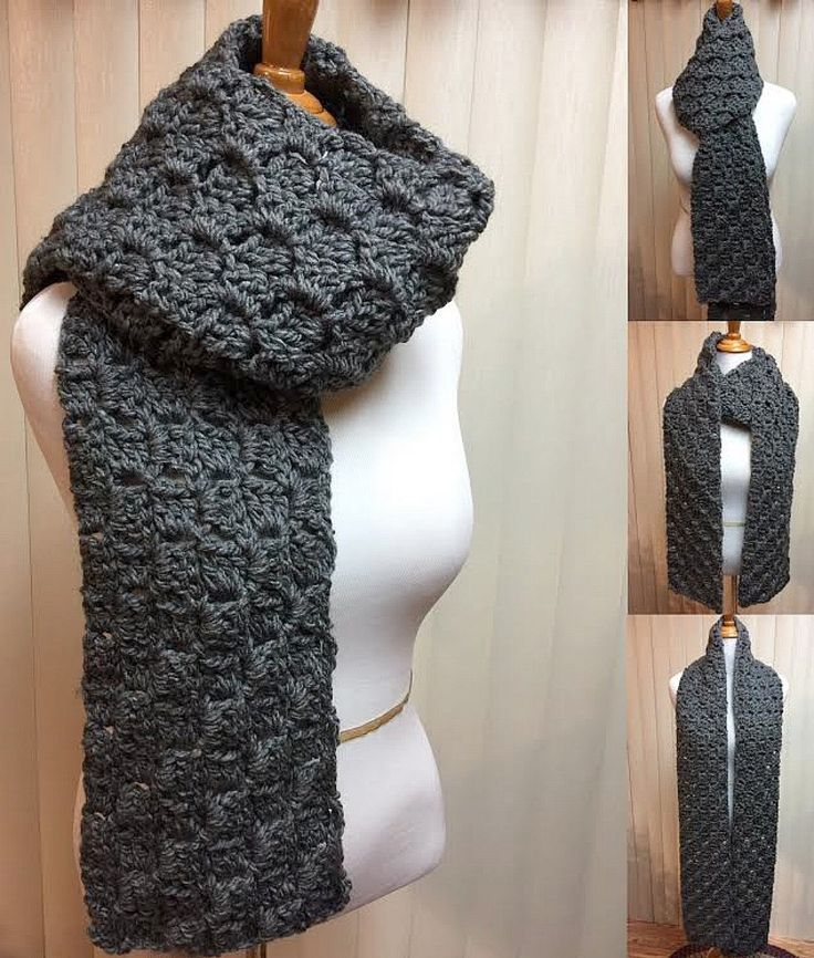 Crochet Scarf, Solid Gray Scarf, Charcoal Gray Scarf, Chunky Scarf, Winter Scarf, Men's Scarf, Crocheted Scarf, Chunky Gray Scarf by CozyNCuteCrochet on Etsy