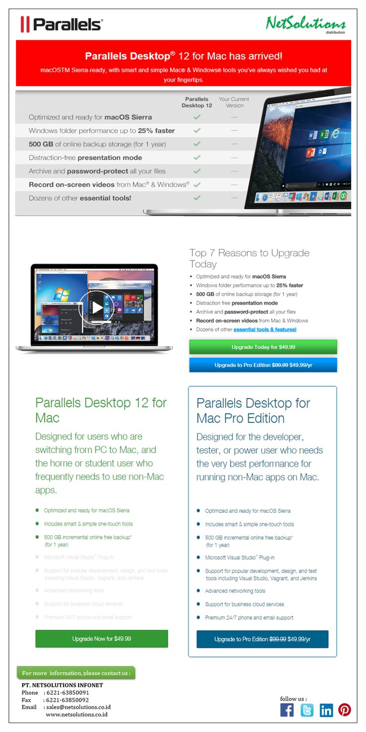 PT. #Netsolutions Infonet #Parallels Desktop® 12 for Mac has arrived! Performance up to 25% Faster Mac and Windows tools you wish you had