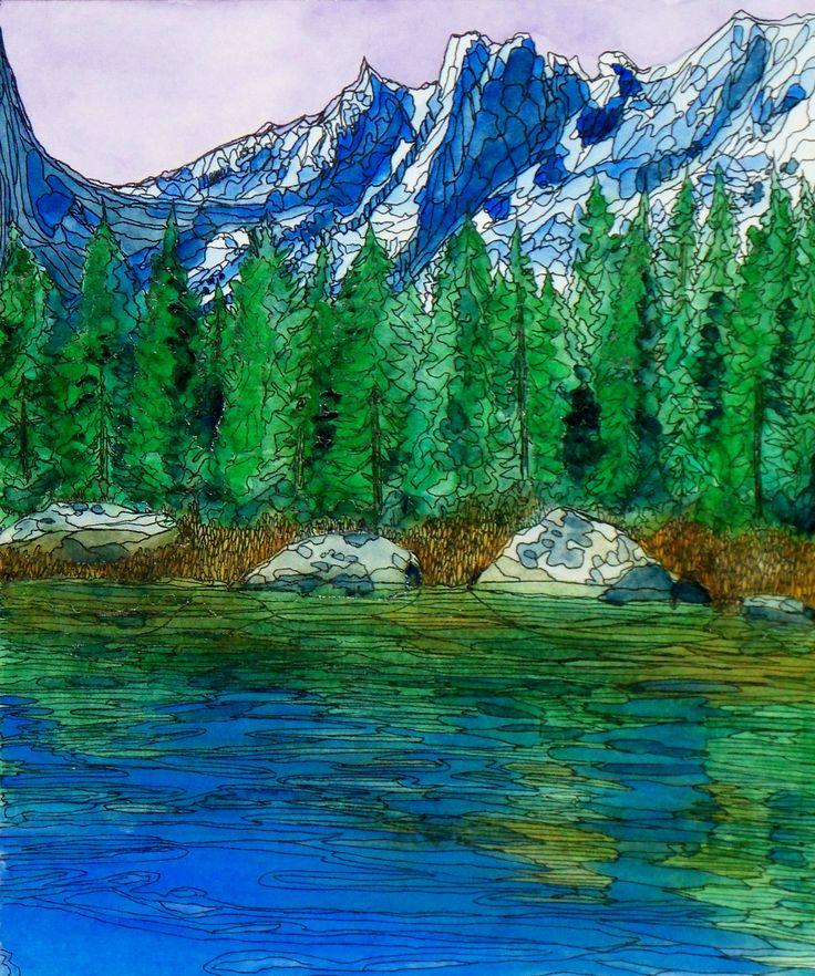 """""""Rocky Mountain Beauty""""  Watercolor & Ink 8"""" x 10"""""""