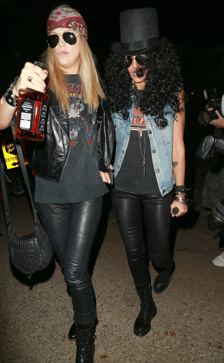 Pin for Later: Look Back at All of Last Year's Memorable Celebrity Halloween Costumes! Jessica Alba as Slash Jessica and her girlfriend dressed up as Slash and Axl Rose.